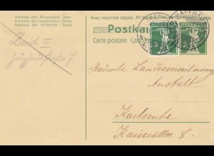 1913/23: 2 post cards Schaffhausen/Davos to Karlsruhe/Paris