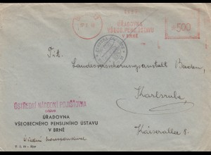 1948: Meter cancel Brné to Karlsruhe