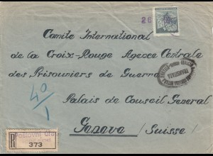 1945: Registered Horni Sucha to Genf, one stamp lost