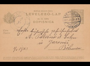 1903: Petrinja, post card to Jaromez / Böhmen