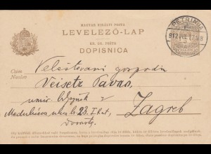 1912: Petrinja, post card to Zagreb