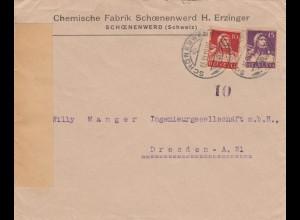 1919: Schoenenwerd nach Dresden, geöffnet