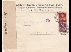 1919: Zürich nach Dresden, Unter Kriegsrecht geöffnet