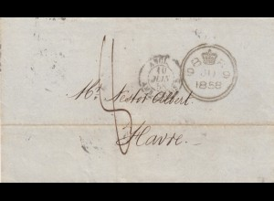 1858: letter London to Le Havre via Paris