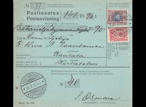1927: parcel card Postanvisning Huutokoski to Kantala