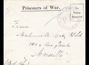 Prisoners of War, Post free, I.O.M. to Marseille