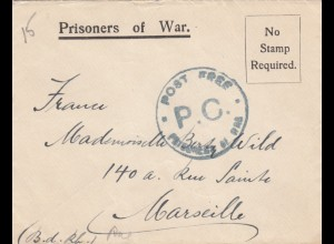 Prisoners of War, I.O.M. to Marseille, Post free