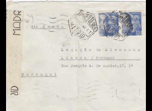 5x letter: 1942/44: Madrid to Deutsche Botschaft in Lisboa, censorship