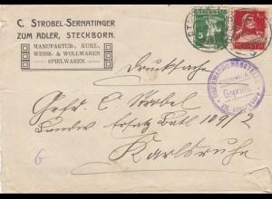 2x Briefe 1918: Steckborn nach Karlsruhe, Überwachungsstelle, Kriegsrecht