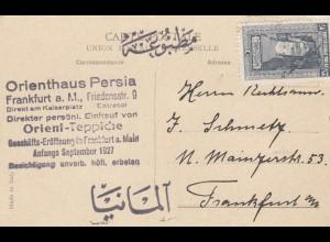 1927: Ansichtskarte Constantinople, Orient Teppiche, Frankfurt/Main