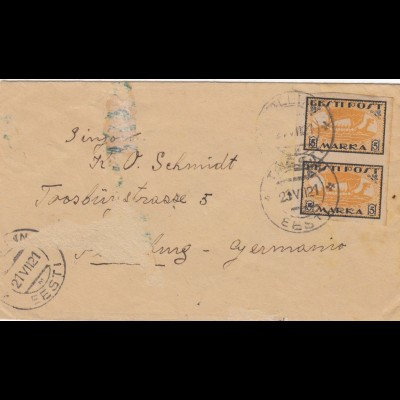 1921: letter from Tallinn to Germany