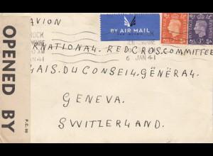 1941: air mail Renfrewshire to Genf, censor