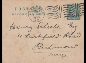 1903: post card Londonec to Richmond