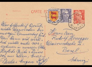 1952: post card Gersheim to Basel