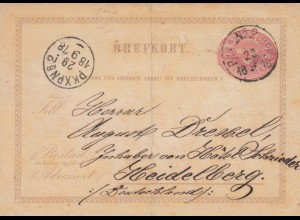 1878.: Post card Pkxpn to Heidelberg