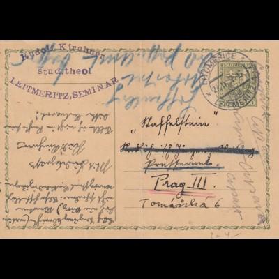 1932: 2x post card Leitmeritz/Unicov to Prag