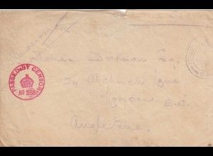 1914: Field post Advance base Ottice to London, passed by censor