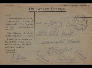 2x 1916: Field post France to Salop, Newfort