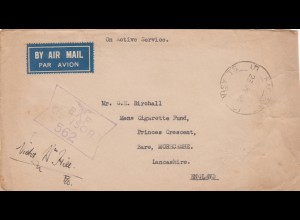 1945: RAF post ASIA to Lancshire, Bare Morecambe, censor, air mail