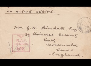 1943: Field post office 532 to Morecame, RAF censor