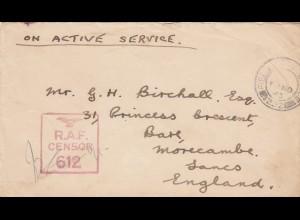 1943: Field post office 532 to Morecame, RAF censor