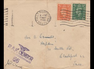1943: Field post office RAF to Blackpool, RAF censor