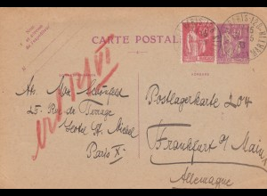 1933: post card Paris to Frankfurt