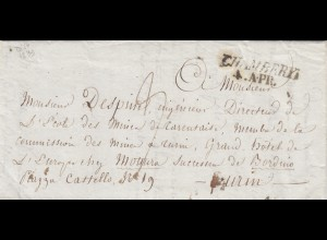 1899: letter Chambéry to Turin