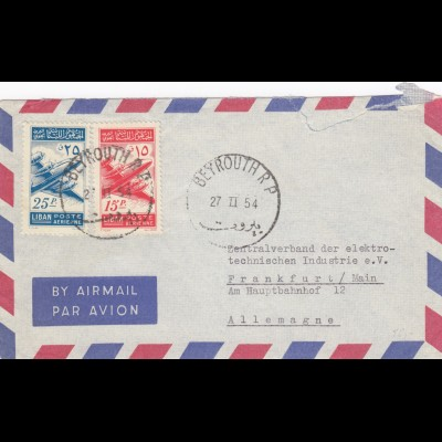 1954: air mail Beyrouth to Frankfurt