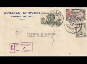 2x letter, registered 1937: Chapala to Lisboa