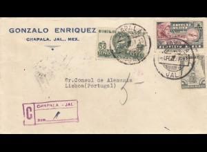 2x letter, registered 1937: Chapala to Lisboa