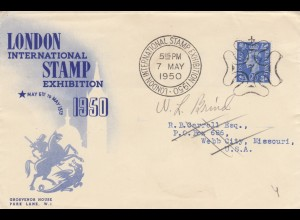 1950: London international Stamp exhibition to Webb City, Missouri/USA