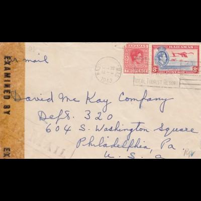 1943: Bahamas, Nassau to Philadelphia, Pa, USA, censor