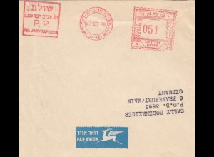 1967/68: 2x wrapper Tel Aviv to Franfurt via air mail