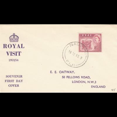 1953: FDC Roayal Visit Nausori to London
