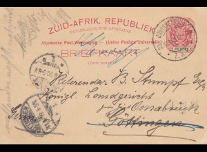 1890: post card Johannesburg to Göttingen/Germany