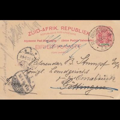 1890: post card Johannesburg to Göttingen/Germany