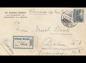 1930: Registered letter Monterrey to Berlin