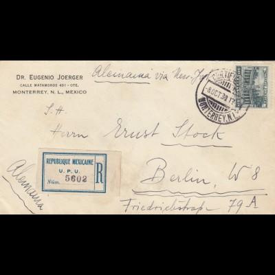 1930: Registered letter Monterrey to Berlin