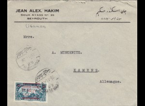 Letter Beyrouth 1929 to Kamenz/Germany