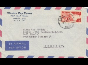 air mail Damascus 1955 to Seifen- und Parfumfabrik Hall/Saale