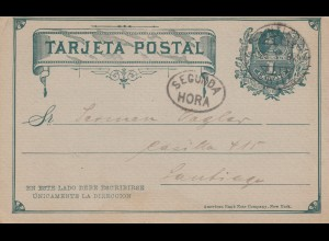 1892: post card NY Life insurance to Santiago