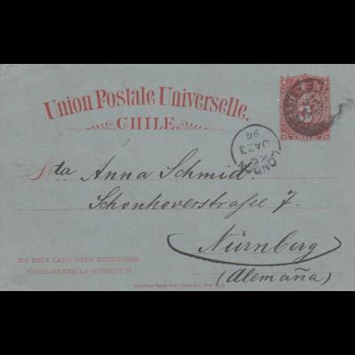 1896: post card Antofagasta to Nürnberg