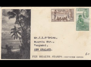 Fiji Health stamps, souvenir cover, closed with content to New Zealand
