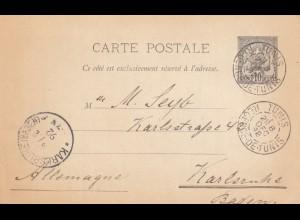 1892: post card Tunis to Karlsruhe