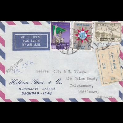 1952: air mail registered Baghdad As-Samawal to Twickenham/Middlesex