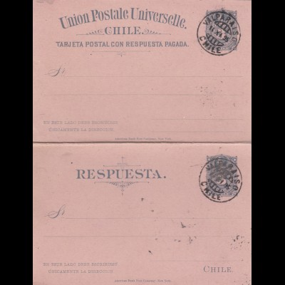 1895: post card with response card Valparaiso