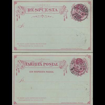 1896: post card with response card Valparaiso