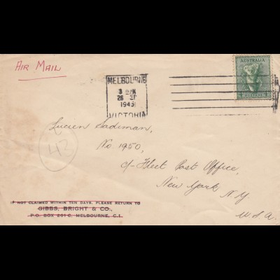 1945: Melbourne/Victoria to New York via air mail