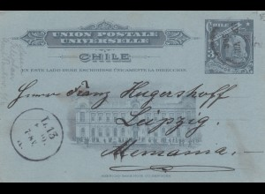 1907: post card Santiago to Leipzig